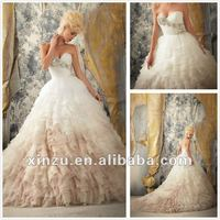 Gorgeous Organa Layered Ombre Skirt Low Back Long Train New Model Hand Made Wedding Dress