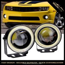"6000K COB Halo Angel Eyes Ring LED Fog Light 3.0"" Glass Projector For Chevrolet Dodge Ford Honda Toyota"