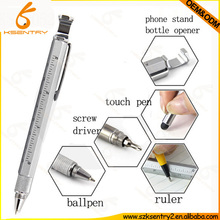 MULTI-FUNCTION TOOL PEN WITH STYLUS TIP,RULER,MINI SCREWDRIVER,BOTTLE OPENER AND PHONE STAND HOLDER