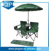 Double green outdoor folding chair with arm and umbrella