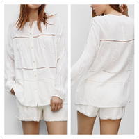 Hot Sale Fashion Trending Blouse Women Casual Top Lace Insert See Through Long Sleeve Formal Evening Blouses White NT6397