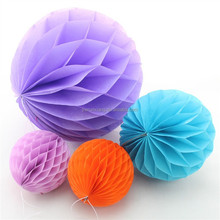 Wholesale paper tissue round honeycomb ball, honeycomb bell, wedding honeycomb decor in different sizes