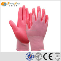 sunnyhope new design Cheap Price 13G pink PU Work Gloves
