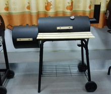 two/double/twin barrel BBQ grill with chimney smoker and wood table