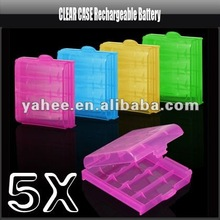 5 x Clear Strong Plastic Battery Safe Case Holder Protective Storage Box for Rechargeable AA AAA Batteries, YFK610A