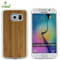 Cheap mobile cases for samsung galaxy s6 edge custom design plain wood phone case with soft tpu bumper frame