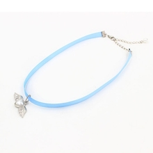 Korean Style Ribbon Necklace Wing With Pearl Drop Short Necklace For Women