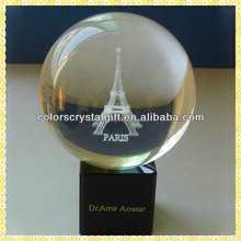 Customized Clear 3D Laser Engraved Crystal Ball For Paris Eiffel Tower Souvenirs