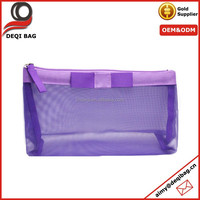 Beauty Bag Purple Mesh Cosmetic Makeup Case Toiletry Travel Tote