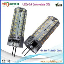 72SMD 3014 3W LED G4 Bulb Silicone LED G4 Dimmable