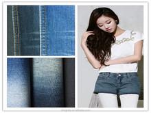 china 9.4oz 3/1 fashion conventional denim fabric 70%cotton 29% polyster 1% spandex denim fabric for sexy shorts
