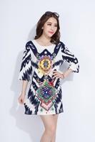 2015 Latest Fashion Dress For Women, Fashion Ladies Dress, Short Sleeve Floral Print Shift Dress