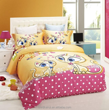 fashion cartoon cat printing fashion dress china supplier bed design textiles children bedding set HIGH QUALITY printed duvets