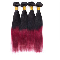 brazilian 5A grade ombre color silky straight wave virgin human hair weft high quality wholesale