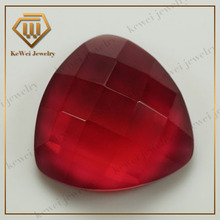 Decorative glass gems fat triangle checkerboard face glass stone
