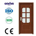 Eco- amigável material pvc portas interiores vidro fosco