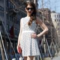 Hjl-c1090 Veri Gude mais recente europeu feminino vestidos verão 2015 teste padrão geométrico das senhoras sem mangas vestido de uma peça