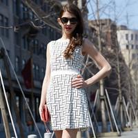 HJL-C1090 Veri Gude Latest European women dresses 2015 summer Geometric pattern ladies sleeveless one piece dress