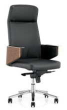 SUODI 90623 leather office chair with wooden back executive chair