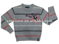 long sleeve round neck striped boys pullover winter sweater with embroidery