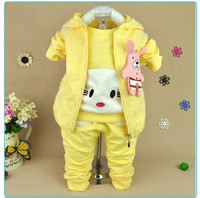 S30523W New Arrival Baby Girls Suits Sweet Printing 3 Piece Winter Suits