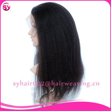 Hot Sale Yaki Straight indian Women Hair Wig,Glueless Full Lace Wig With Baby Hair