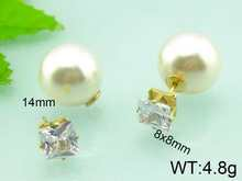 8x8mm Square Rhinestone Fake Pearl All Types Of Earrings Doule Sized Earrings For Women