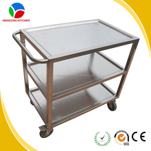 Stainless Steel Furniture Dining Trolley Serving Utility Cart For Kitchens