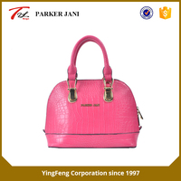 Fashionable crocodile pattern pu leather ladies tote handbag