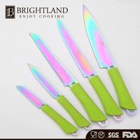 Factory Supply Funny Color Stainless Steel Kitchen Titanium Knife Sets