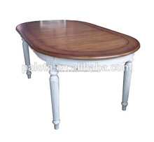 Oval- forma de cosecha de madera comedor mesa extensible de antigüedades en países de américa estilo 6/8 para plazas