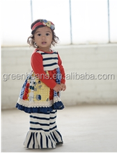 High quality black white stripe girls outfits girls wholesale boutique clothing floral long sleeve kids sets