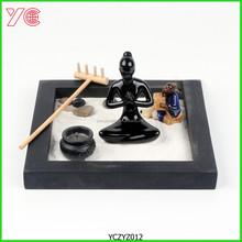 YCZYZ012 Black Tray Resin Yoga Mini Zen Garden