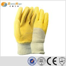 SUNNYHOPE yellow Latex on Palm Coated back open gloves