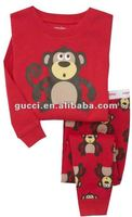 baby pajamas set red monkey long sleeve 2-7T wholesale 100% cotton baby cloth children's pajamas sleeping wear suit sets PL89