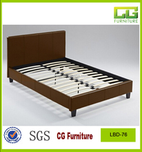 brown color KD sideboard simple leather bed