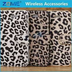 cellphone covers/case for iphone 5c leather case with special leopard skin
