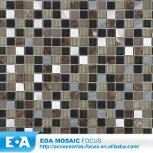 Decoration Mini Mosaic Tile Brushed Alloy Mixed Stone Glass Mosaic Tile