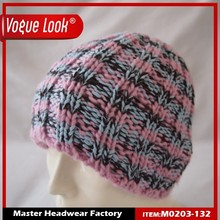 Hot selling custom winter knitted beanie caps and hats with pom pom
