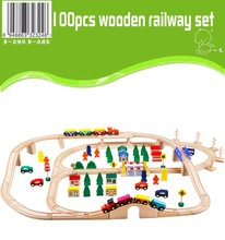 100pcs wooden railway train 2015 new China track toys