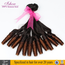 Wholesale Virgin Indian Aunty Funmi Hair Bouncy Curls Ombre Color Indian Remy Human Hair Weaving