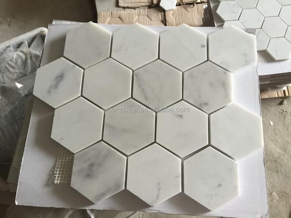 Mais barato carrara branco mosaico de pedra bianco carrara