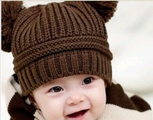 D90129G DOUBLE BALL WOOL CHILDREN KNITTED HAT