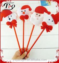 novelty cartoon Christmas Santa Claus shaped plush ballpoint pen