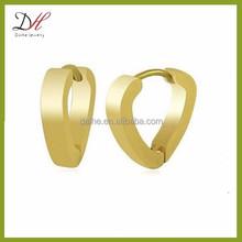 Daihe DH-ER014 stainless steel huggie hinged hoop earrings gold