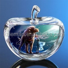 Crystal color printing apple for wedding gift/ Christmas gifts/home decorations