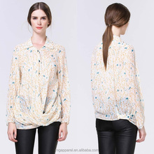 2015 Hot sale fashion printed apricot blouse cross roll special design woman shirts