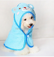 100% Cotton Small Dog Bathrobes Super Absorbent Hooded Towel