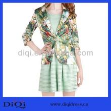 el último 2014 damas venta caliente florales impresos traje de slim