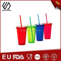 wholesale fashion customized plastic cup with straw